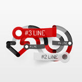 Embossed minimal style line diagram and stickers Royalty Free Stock Photo