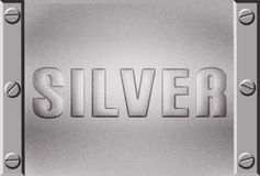 Embossed silver metal plate Royalty Free Stock Photography