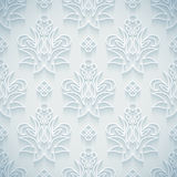 Embossed white seamless royal floral pattern Stock Photography