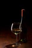 Embotelle y un vidrio de vino en un vector de madera Fotografía de archivo