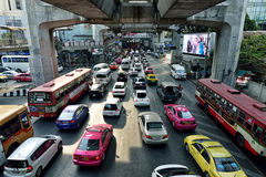 Embouteillage à Bangkok Images libres de droits
