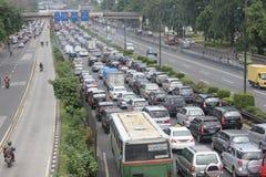 Embouteillage à Jakarta Photographie stock libre de droits