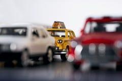 Embouteillage avec des voitures de jouet Photographie stock
