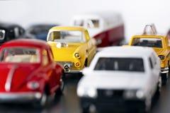 Embouteillage avec des voitures de jouet Photos libres de droits