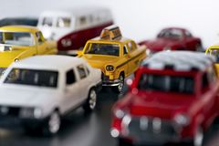 Embouteillage avec des voitures de jouet Images libres de droits