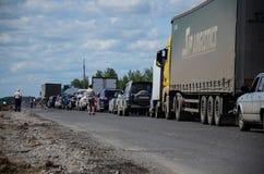 Embouteillage d'un état à un autre Photo stock