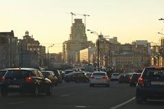 Embouteillage dans la soirée de Moscou Photographie stock