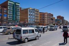 Embouteillage dans les rues de La Paz, Bolivie Photos stock