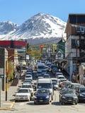 Embouteillage dans Ushuaia. Photo libre de droits
