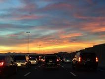 Embouteillage de coucher du soleil Images libres de droits