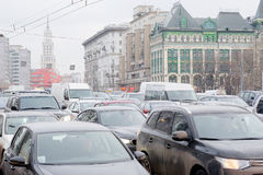 Embouteillages dans la ville Moscou Photos libres de droits