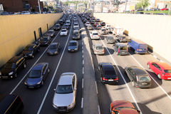 Embouteillages sur Taganskaya à Moscou Photo libre de droits