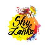 Emboutissez ou label avec le nom de Sri Lanka, illustration de vecteur