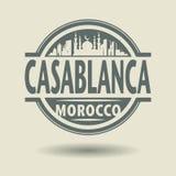 Emboutissez ou label avec le texte Casablanca, Maroc à l'intérieur illustration libre de droits