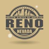 Emboutissez ou label avec le texte Reno, Nevada à l'intérieur illustration stock