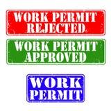 Emboutit le permis de travail Photos libres de droits