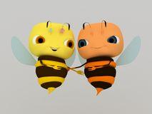 Embrace. 3d render of embrace bee Stock Images