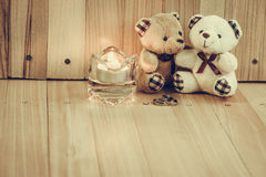 Embrace Bears in love, sit near Engagement ring and Candlestick, Royalty Free Stock Photos