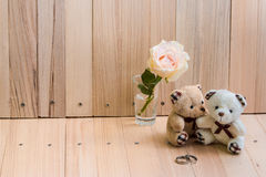 Embrace Couple Bear in love propose Engage ring Royalty Free Stock Photo