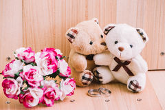 Embrace Couple Bear in love, Style Vintage background Royalty Free Stock Images