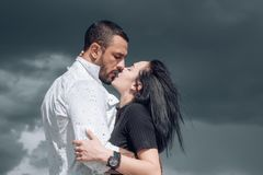 Embrace and kiss. Couple in french kiss. In love and i love you. Sensual embrace couple kiss. Couple In Love. Romantic. And love. Intimate relationship and stock photography