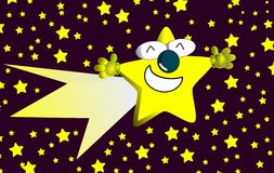 Nice star cartoon with open arms in a starry night Royalty Free Stock Image