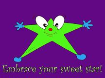 Nice star cartoon with words embrace me on blue ba Stock Photo