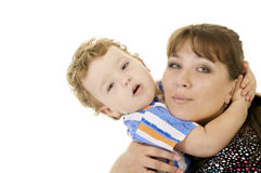 Embrace mother and son Stock Images