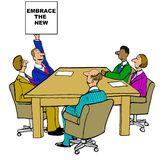 Embrace the New. Business cartoon showing people in a meeting and businessman raising a sign that reads, 'Embrace the new royalty free illustration