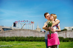 Embrace romantic lovers on city. Summer landscape Royalty Free Stock Image