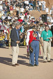 Embrace of Teresa Heinz Kerry and Intertribal Council President, Gallup, NM Royalty Free Stock Images