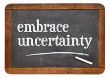 Embrace uncertainty blackboard sign Royalty Free Stock Image