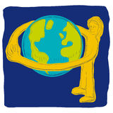Embrace the world. Illustration of person who embraces the world Stock Images