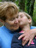 Embraced grandmother and granddaughter Royalty Free Stock Photography
