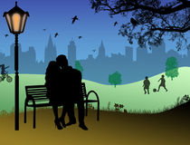 Embraced lovers. In a city park. Vector illustration royalty free illustration