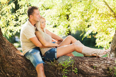 Embraced romantic couple in the nature Stock Image
