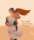 Embraces of a loving couple. Vector illustration Stock Images