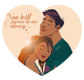 Embraces of a loving couple. Vector illustration Stock Photos