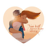Embraces of a loving couple. Vector illustration Stock Photo