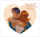Embraces of a loving couple. Vector illustration Royalty Free Stock Images