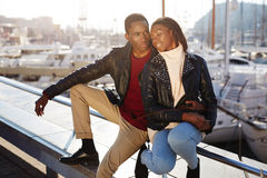 Embracing black couple enjoying time spending together Royalty Free Stock Photography