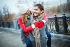 Embracing boyfriend Royalty Free Stock Images