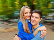 Embracing couple autumn Royalty Free Stock Image