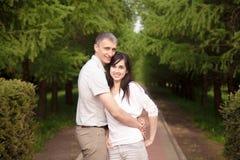 Embracing couple portrait Stock Photo