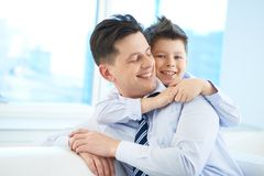 Embracing father Royalty Free Stock Photo