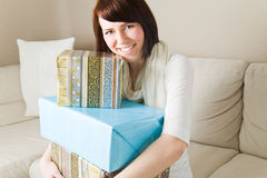 Embracing gifts Royalty Free Stock Photo
