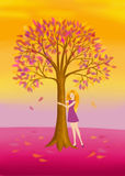 Embracing harmony. Colorful illustration of a beautiful woman in a dress who is hugging a tree with pink and yellow leaves Royalty Free Stock Images