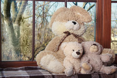 Embracing loving teddy bears toys sitting on window-sill. Embracing loving teddy bears toys and bunny sitting on window-sill Royalty Free Stock Photo
