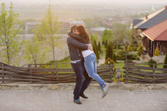 Embracing Man and Woman Stock Images