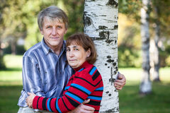Embracing mature husband and wife standing next to tree in park Royalty Free Stock Photography